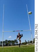 Купить «Rugby player kicking ball through goal post», фото № 26394762, снято 9 февраля 2017 г. (c) Wavebreak Media / Фотобанк Лори