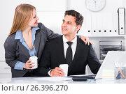 Купить «Businesswoman seducing male colleague», фото № 26396270, снято 20 апреля 2017 г. (c) Яков Филимонов / Фотобанк Лори