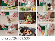 Купить «A Step by Step Collage of Making Chilled Cucumber Soup with Prawns», фото № 26409530, снято 6 мая 2017 г. (c) Татьяна Ворона / Фотобанк Лори