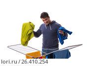 Купить «Husband man doing laundry isolated on white», фото № 26410254, снято 6 марта 2017 г. (c) Elnur / Фотобанк Лори