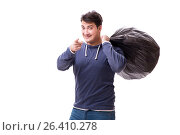 Купить «Man with garbage sack isolated on white», фото № 26410278, снято 6 марта 2017 г. (c) Elnur / Фотобанк Лори