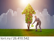 Купить «Businessman in sustainable green development concept», фото № 26410542, снято 22 апреля 2019 г. (c) Elnur / Фотобанк Лори