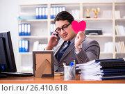 Купить «Businessman feeling love and loved in the office», фото № 26410618, снято 3 февраля 2017 г. (c) Elnur / Фотобанк Лори