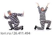 Купить «Convict criminal in striped uniform», фото № 26411494, снято 23 ноября 2012 г. (c) Elnur / Фотобанк Лори