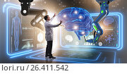 Купить «Brain surgery done by robotic arm», фото № 26411542, снято 6 июня 2020 г. (c) Elnur / Фотобанк Лори