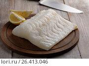 Купить «Raw codfish fillet», фото № 26413046, снято 10 февраля 2017 г. (c) Stockphoto / Фотобанк Лори