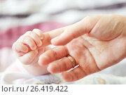 Купить «Рука новорожденного держащая маму за указательный палец», фото № 26419422, снято 12 октября 2013 г. (c) Александр Гаценко / Фотобанк Лори