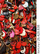 Купить «Замки любви на дереве на Лужковом мосту в Москве», фото № 26428838, снято 12 августа 2012 г. (c) Александр Гаценко / Фотобанк Лори