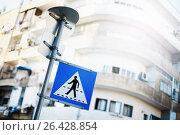 Pedestrian sign on Israel street. Редакционное фото, фотограф Дарья Зуйкова / Фотобанк Лори