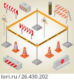 Set of road signs repairs in isometric, vector illustration. Стоковая иллюстрация, иллюстратор Купченко Евгений / Фотобанк Лори