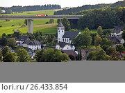 Купить «Bleche village and A45 motorway bridge, Germany, North Rhine-Westphalia, Sauerland, Drolshagen», фото № 26433854, снято 22 февраля 2016 г. (c) age Fotostock / Фотобанк Лори