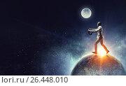 Купить «Aviator running on globe. Mixed media», фото № 26448010, снято 23 июля 2018 г. (c) Sergey Nivens / Фотобанк Лори