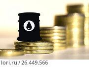 Купить «Бочка для нефти  на фоне денег», фото № 26449566, снято 12 февраля 2016 г. (c) Сергеев Валерий / Фотобанк Лори