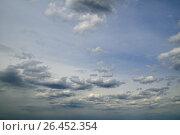 Купить «Blue sky background with clouds», фото № 26452354, снято 16 мая 2017 г. (c) Сергей Эшметов / Фотобанк Лори
