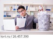 Купить «Businessman in paper recycling concept in office», фото № 26457390, снято 28 февраля 2017 г. (c) Elnur / Фотобанк Лори