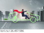 Купить «Electric car concept in green environment concept», фото № 26457586, снято 22 июля 2019 г. (c) Elnur / Фотобанк Лори