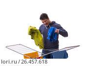 Купить «Husband man doing laundry isolated on white», фото № 26457618, снято 6 марта 2017 г. (c) Elnur / Фотобанк Лори
