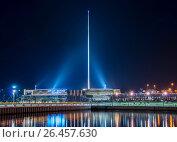 Купить «Night view of flag square in Baku Azerbaijan», фото № 26457630, снято 25 мая 2014 г. (c) Elnur / Фотобанк Лори