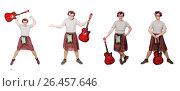 Купить «Scotsman playing guitar isolated on white», фото № 26457646, снято 9 апреля 2014 г. (c) Elnur / Фотобанк Лори