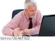 Купить «Older businessman using laptop», фото № 26467922, снято 18 января 2008 г. (c) age Fotostock / Фотобанк Лори