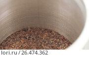 Купить «Tea in an iron jar with a lid», видеоролик № 26474362, снято 30 мая 2017 г. (c) Потийко Сергей / Фотобанк Лори
