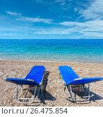 Купить «Summer morning beach», фото № 26475854, снято 11 июля 2016 г. (c) Юрий Брыкайло / Фотобанк Лори