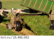 Купить «Mowing second cut grass with front and rear mounted mower conditioners on a Fendt tractor. (Photo by: Wayne Hutchinson/Farm Images/UIG)», фото № 26486082, снято 25 мая 2018 г. (c) age Fotostock / Фотобанк Лори