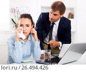 Купить «Crying female office employee made a mistake», фото № 26494426, снято 17 августа 2018 г. (c) Яков Филимонов / Фотобанк Лори