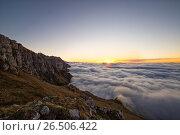 Закат выше облаков. Стоковое фото, фотограф Валера Сабанов / Фотобанк Лори