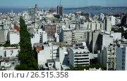 Panoramic view of Uruguayan capital, city Montevideo, La Plata gulf. Uruguay, South America (2017 год). Стоковое видео, видеограф Яков Филимонов / Фотобанк Лори