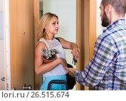 Купить «Young couple separating after quarrel», фото № 26515674, снято 27 марта 2019 г. (c) Яков Филимонов / Фотобанк Лори
