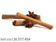 Cinnamon on the white background. Стоковое фото, фотограф Антон Соваренко / Фотобанк Лори