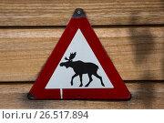 Купить «Треугольный знак с силуэтом бегущего лося», эксклюзивное фото № 26517894, снято 2 июня 2017 г. (c) Михаил Ворожцов / Фотобанк Лори