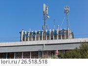 Купить «Фрагмент здания бывшего речного вокзала в городе Котласе Архангельской области», фото № 26518518, снято 12 августа 2016 г. (c) Николай Мухорин / Фотобанк Лори