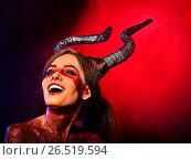 Купить «Mad satan woman aggressive cry in hell . Witch reincarnation creature.», фото № 26519594, снято 23 марта 2017 г. (c) Gennadiy Poznyakov / Фотобанк Лори