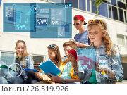 Купить «group of students with notebooks at school yard», фото № 26519926, снято 21 мая 2016 г. (c) Syda Productions / Фотобанк Лори