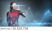 Купить «woman in virtual reality glasses and microchip», фото № 26520734, снято 17 ноября 2012 г. (c) Syda Productions / Фотобанк Лори