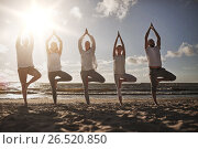 group of people making yoga in tree pose on beach, фото № 26520850, снято 7 августа 2016 г. (c) Syda Productions / Фотобанк Лори