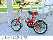 Купить «Детский велосипед», эксклюзивное фото № 26542734, снято 11 июня 2017 г. (c) Юрий Морозов / Фотобанк Лори