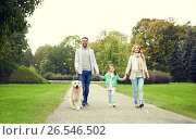 Купить «happy family with labrador retriever dog in park», фото № 26546502, снято 20 сентября 2015 г. (c) Syda Productions / Фотобанк Лори