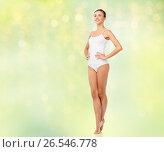 Купить «beautiful woman in white underwear over green», фото № 26546778, снято 9 апреля 2017 г. (c) Syda Productions / Фотобанк Лори