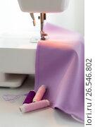 Купить «sewing machine, spools of thread and fabric», фото № 26546802, снято 29 сентября 2016 г. (c) Syda Productions / Фотобанк Лори