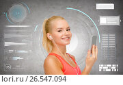 Купить «smiling sporty woman with smartphone and earphones», фото № 26547094, снято 8 мая 2014 г. (c) Syda Productions / Фотобанк Лори
