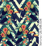 Seamless vintage style pattern with toucans. Hand drawn vector. Стоковая иллюстрация, иллюстратор Irene Shumay / Фотобанк Лори