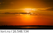 Купить «Sunset lake landscape», видеоролик № 26548134, снято 11 июня 2017 г. (c) Сергей Мнацаканов / Фотобанк Лори