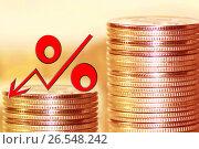 Купить «Красный знак процента на фоне денег», фото № 26548242, снято 22 октября 2016 г. (c) Сергеев Валерий / Фотобанк Лори