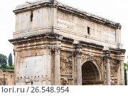 Fragment of bas-relief on iconic Arch of Titus on the Via Sacra in Roman Forum, фото № 26548954, снято 27 апреля 2013 г. (c) Ирина Мойсеева / Фотобанк Лори