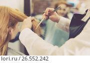 Купить «Hairdresser leveling and cutting hair to young blonde woman with use of scissors», фото № 26552242, снято 7 марта 2017 г. (c) Яков Филимонов / Фотобанк Лори