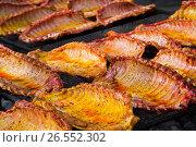 Купить «Meat ribs of pig roasting on barbecue», фото № 26552302, снято 30 апреля 2017 г. (c) Яков Филимонов / Фотобанк Лори
