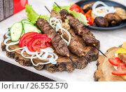 Купить «Grilled shish kebab or shashlik on wooden skewers with fresh vegetables», фото № 26552570, снято 11 июня 2017 г. (c) FotograFF / Фотобанк Лори